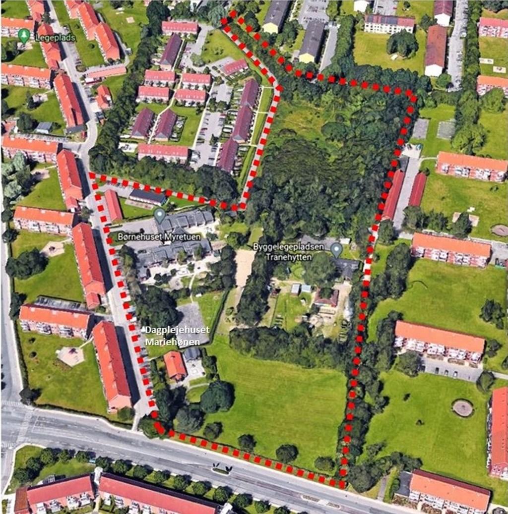 Markering af området på luftfoto: Forslag til kommuneplantillæg nr. 8 samt lokalplan 256